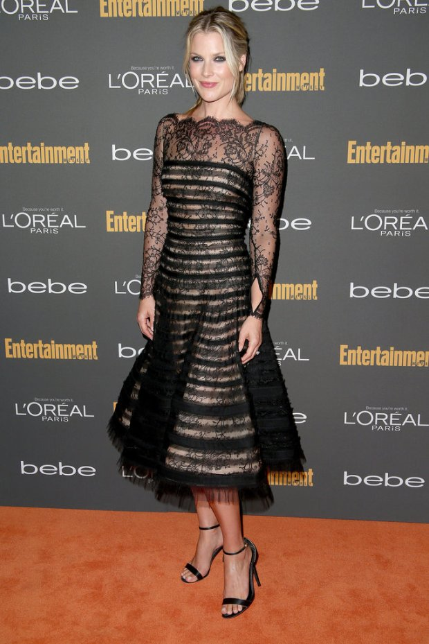 Ali-Larter-black-striped-lace-fit--flare-dress-stood-out