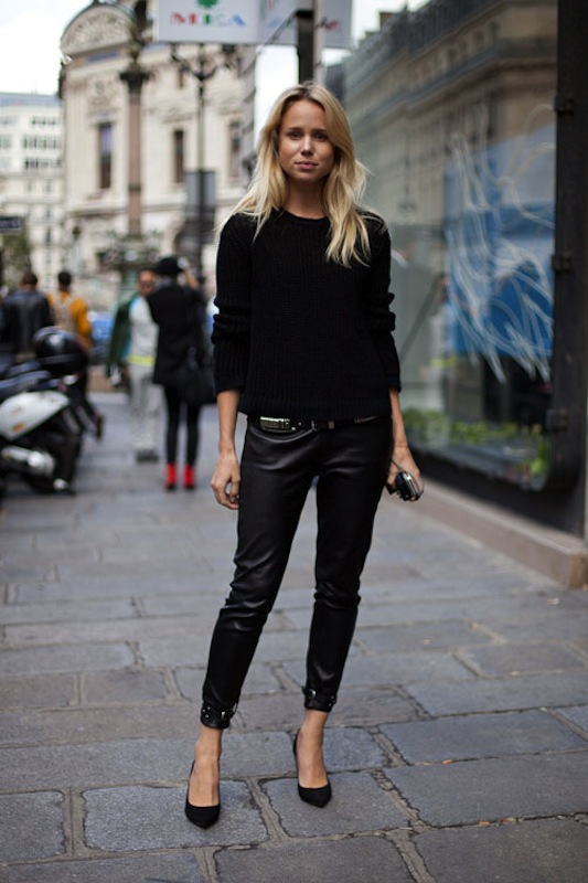 la-modella-mafia-Leather-cropped-trousers-with-a-black-sweater-model-off-duty-inspiration-Elin-Kling-via-harpersbazaar
